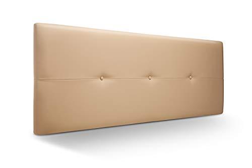 Cabecero de Madera Jazmin, tapizado Acolchado en Polipiel Color Beige. Cabeceros Madera para Dormitorio | Cama Matrimonio | Cama Juvenil | Camas de 140 cm, 135 cm, 120 cm