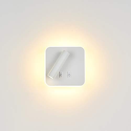 Topmo-plus Bañadores de pared Dormitorio Interruptor volvible apliques de lectura de pared cama Iluminación de Pared cabecera / 3W LED Cree COB + 9W SMD 360 gradosgiratoria Blanco/Blanco Cálido...