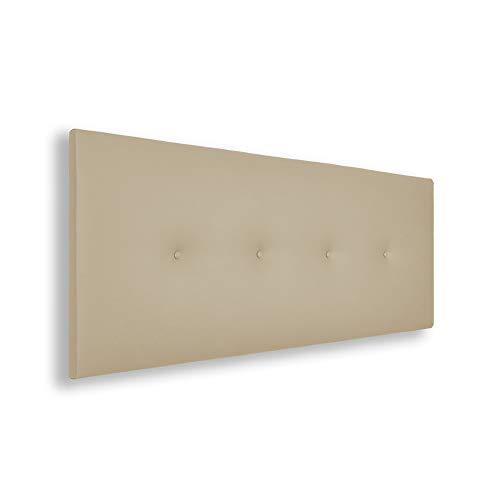 SILCAR HOME - Cabecero de Cama Tapizado en Polipiel con Hilera de Botones, Modelo Silvi (Beige, 145 cm) | Cabecero Acolchado | Cabezal Tapizado | Cabecero Original