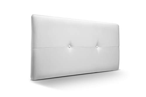 Cabecero de Madera Jazmin, tapizado Acolchado en Polipiel Color Blanco. Cabeceros Madera para Dormitorio | Cama Matrimonio | Cama Juvenil | Camas de 105 cm, 90 cm, 80 cm
