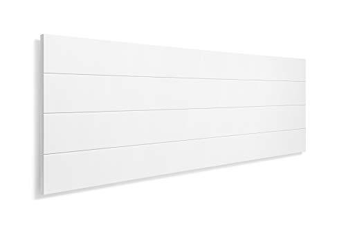 SUENOSZZZ-ESPECIALISTAS DEL DESCANSO Cabecero de Cama de Madera TREVINCA Color Blanco para Pared. Cabecero de Tablas Horizontales. Estilo Vintage, para Camas de 135