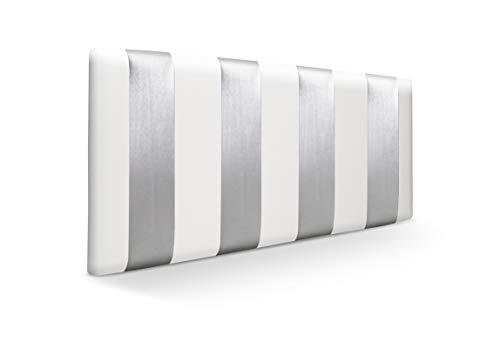 SUENOSZZZ - Cabecero Ohio Líneas Verticales (Cama135) 145x57 cms. Color Blanco y Plata