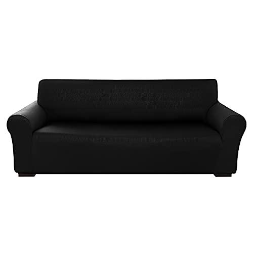 Amazon Brand - Umi Fundas para Sofa 4 Piezas Funda Sofa Diseño Sin Deslizante Ajustado contra Manchas Moderna Elasticas Negro