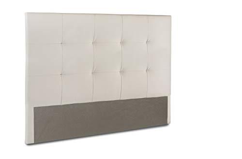 Home Heavenly®- Cabezal Cama, cabecero tapizado Olson 150 X 115 y 105 X 115 para Cama Individual y de Matrimonio Acolchado con Espuma de 6 cm. (Blanco, 150_x_115_cm)