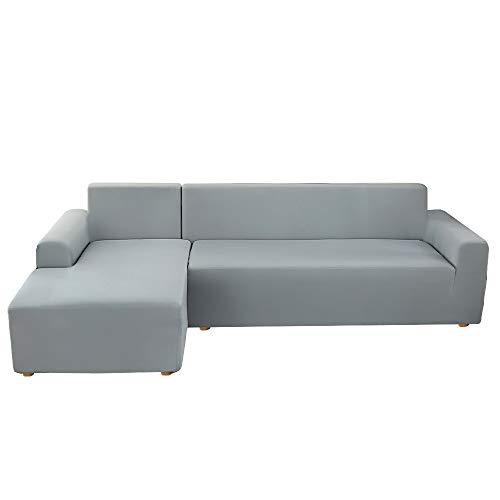 Fundas Sofa Elasticas Chaise Longue,Extraíbles y Lavables,Moderno Cubre Sofa Chaise Longue Universal Fundas Protectora para Sofa contra Polvo en Forma de L 2 Piezas(Gris Ahumado,2 Plazas+2 Plazas)