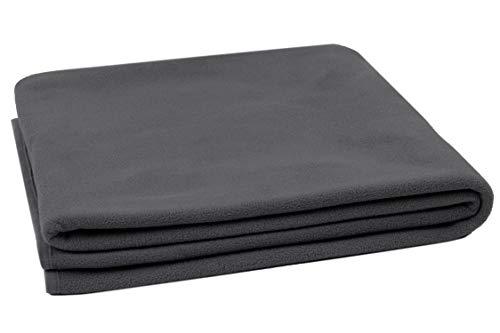 ZOLLNER Manta Polar para sofá, Gris Oscuro, calentita, 130x170 cm