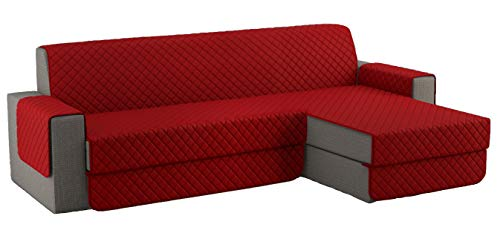 Fundas para Sofa Acolchado, Funda Sofa Chaise Longue Brazo Chaise Derecho / Izquierdo (250 CM), Cubre Sofa Reversible, Rojo