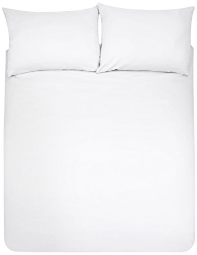 AmazonBasics - Juego de fundas de edredón y de almohada de microfibra, 220 x 250 cm + 2 fundas 50 x 80 cm - Blanco