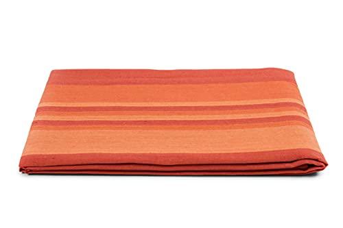 HomeLife Colcha de una plaza y media para primavera y verano, de piqué [220 x 260 cm], fabricada en Italia, colcha de algodón a rayas | colcha de 1 plaza y media ligera | 1,5 P naranja