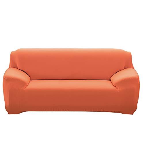 Ryoizen Fundas para Sofa Elástica 1/2/3/4 Plazas Cubre Sofá Universal Cubierta de Sofá de Color Sólido Protector de Sofá o Sillón Lavable Duradera(Naranja ,235-310cm)
