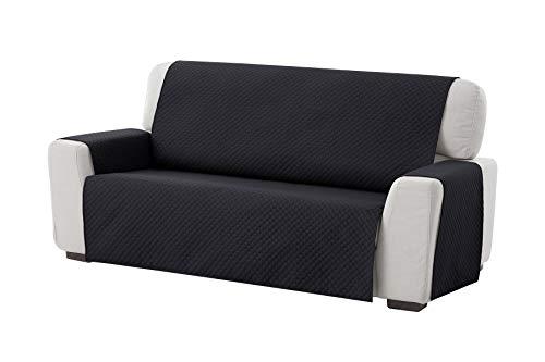Textilhome - Funda Cubre Sofá Adele, 3 Plazas, Protector para Sofás Acolchado Reversible. Color Negro