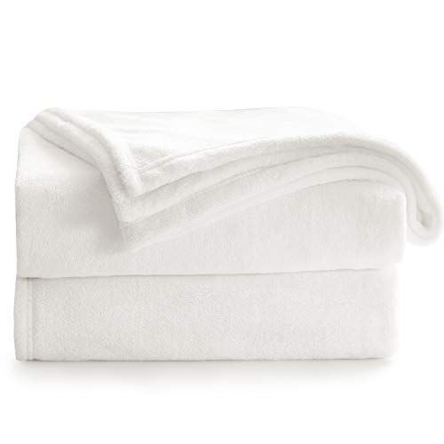 Bedsure Manta Sofa Grande Invierno - Manta Cama 90 de Franela Extra Suave, Mantas 150x200 cm Cubre Sofas, Blanco Marfil