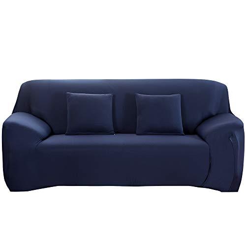 HALOVIE Funda Elástica para Sofá Fundas de Sofás Cubierta para Sofá Funda Cubre Protector para Sofás Decorativa Universal Azul, 2 Plaza (145-185cm), con una Funda de Almohada de 45 * 45cm
