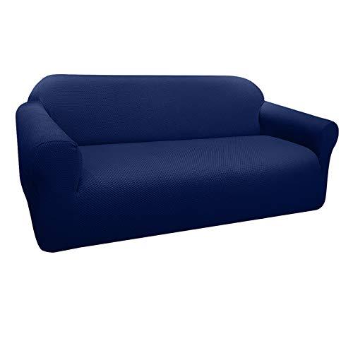 Granbest Funda de Sofá Elástica Súper Gruesa con Diseño Elegante Universal Funda Sofá 3 Plaza Antideslizante Protector Cubierta de Muebles (3 Plaza, Azul Marino)