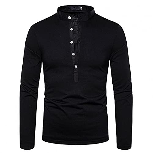 Camiseta de manga larga para hombre, cómoda camiseta, cuello en V, color sólido, slim, parte superior, Negro , XL
