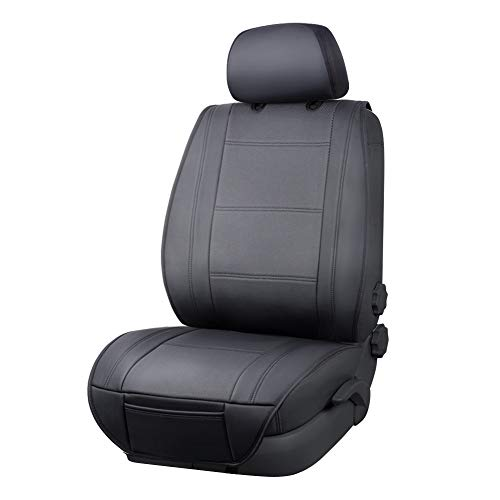 Amazon Basics - Funda Deluxe de asiento de cuero sintético de ajuste universal sin laterales con organizador trasero, negro