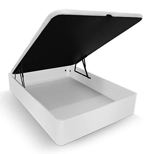 Duérmete Online Canapé Abatible Madera Gran Capacidad Cajón Grosor 30mm con Tapa Reforzada y Transpirable, Blanco, 90 x 190