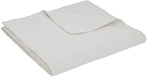 Amazon Basics – Colcha labrada extragrande, Blanco, floral, 170 x 210 cm