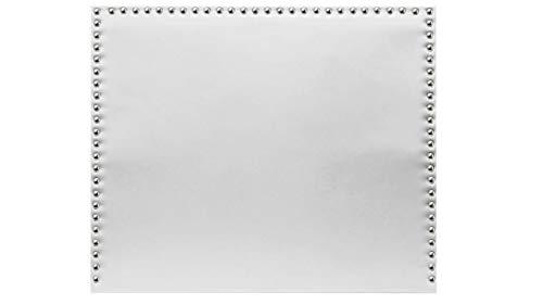 Cabecero de Cama tapizado en Polipiel y con Tachuelas en Color Plata Altura 120cm. Color Blanco. para Cama de 105 (Medidas 115x120x8) Pro Elite.