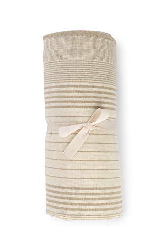 HomeLife - Funda para sofá a rayas fabricada en Italia   Sábana cubretodo multiusos de algodón   Granfoulard Colcha para cama de matrimonio [260 x 280] Tela decorativa beige, 2 plazas