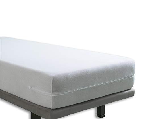 Tural – Funda de colchón elástica con Cremallera. Rizo 100% Algodón. Talla 135x190/200cm