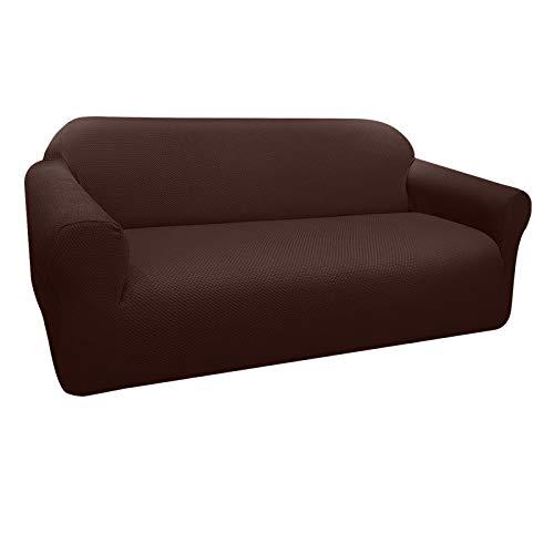 Granbest Funda de Sofá Elástica Súper Gruesa con Diseño Elegante Universal Funda Sofá 3 Plaza Antideslizante Protector Cubierta de Muebles(3 Plaza, Chocolate)