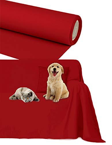 Byour3® Funda De Sofá Impermeable 3 4 2 Plazas Protector Sofás Anti Rasguños Pelos Perros Gatos Animales Niños Lona Sofa Algodón Cubre Todo También por Chaise Longue (Rojo Rubí 3/4 plazas)