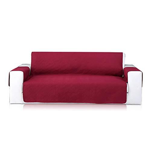 PETCUTE Funda de sofá 3 plazas Protector de sofá Moderno Sofá Fundas Protector de Muebles Cubre Sofá Tres plazas Vino Rojo