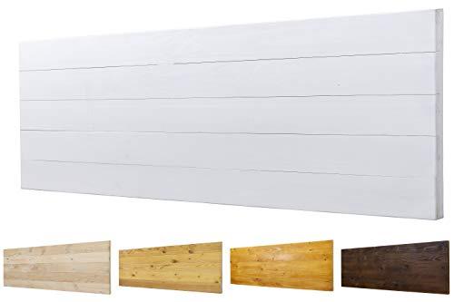 Cabecero Ancho 60cm de Madera Maciza Mod. Roma para Camas de 80cm, 90cm, 110cm, 135cm, 150cm. Herrajes incluidos (145cm X 60cm, Blanco)
