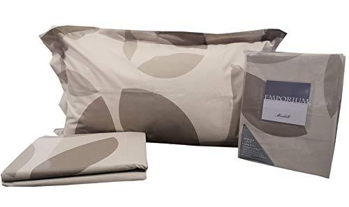 Mirabello Juego completo de sábanas Slice 100% puro algodón – Sábana con volantes y cubrecama bajera con esquinas (Slice Beige, Plaza y Media)