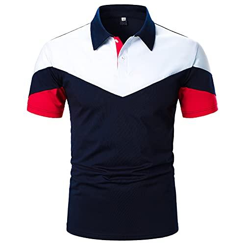 Camisa de verano de manga corta para hombre, camisa informal a rayas, clásica, transpirable, cuello alto, para fiestas formales marine M