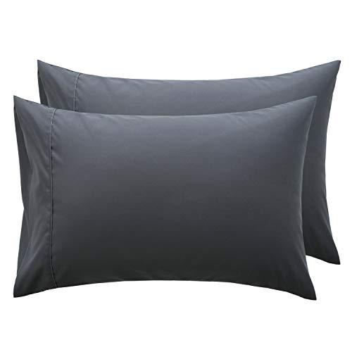 Bedsure Funda Almohada 90 cm - Juego de 2 Fundas Almohadas 40x90, Transpirable Suave Antiarrugas de Microfibra, 90x40 Color Gris Oscuro, sin Cremallera