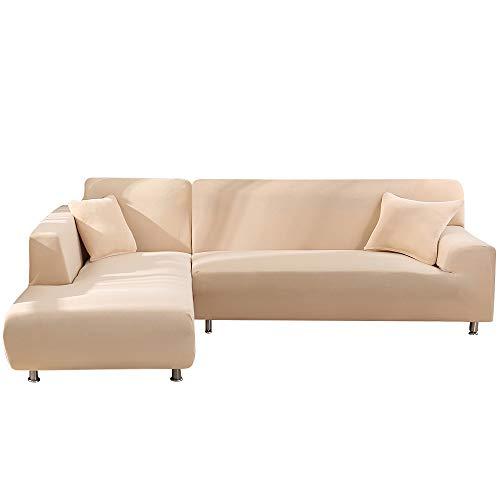 SearchI Fundas Sofa Elasticas Chaise Longue,Extraíbles y Lavables,Moderno Cubre Sofa Chaise Longue Universal Fundas Protectora para Sofa contra Polvo en Forma de L 2 Piezas(Beige,2 Plazas+2 Plazas)