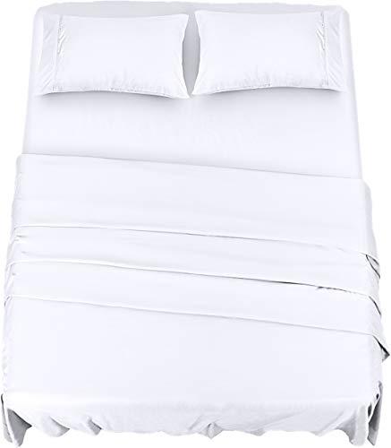 Utopia Bedding Juego Sábanas de Cama - Microfibra Cepillada - Sábanas y Fundas de Almohada (Cama 150, Blanco)