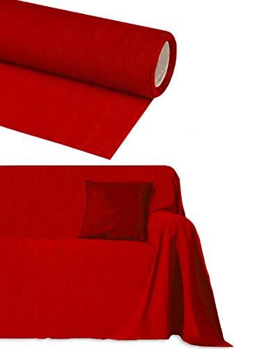 Byour3® Funda De Sofá Algodón 3 4 2 Plazas Tela Cubierta Sofa Cubre Todo Protector De Sofás También Por Forma De L U Chaise Longue Brazo Derecho Izquierdo Lavable Suave (Rojo Rubí, 4 Plazas)