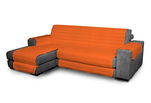 Italian Bed Linen Elegant - Funda Protectora para Sofá Chaise Longue Izquierdo, Microfibra, Naranja, Medida del asiento 290 cm + cubre brazos laterales
