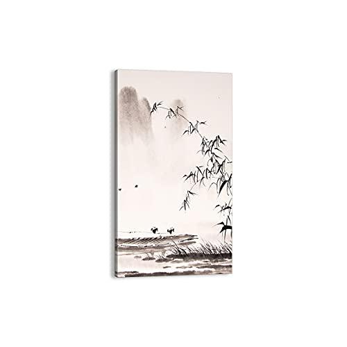 Cuadro sobre lienzo - Impresión de Imagen - bambú negro china - 55x100cm - Imagen Impresión - Cuadros Decoracion - Impresión en lienzo - Cuadros Modernos - Lienzo Decorativo - PA55x100-3116