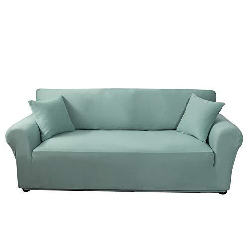 C/N Funda de sofá elástica 4 Asiento Fundas de sillón Ajustable Sofa Cubre Fundas para sofá elástica Lavables Antideslizantes para Mascotas Verde Azulado