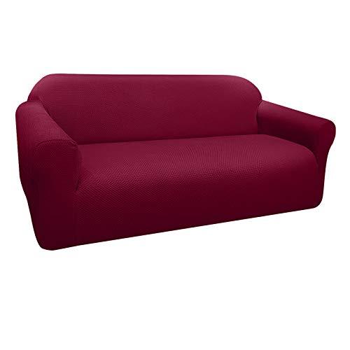 Granbest Funda de Sofá Elástica Súper Gruesa con Diseño Elegante Universal Funda Sofá 4 Plaza Antideslizante Protector Cubierta de Muebles (4 Plaza, Rojo Vino)