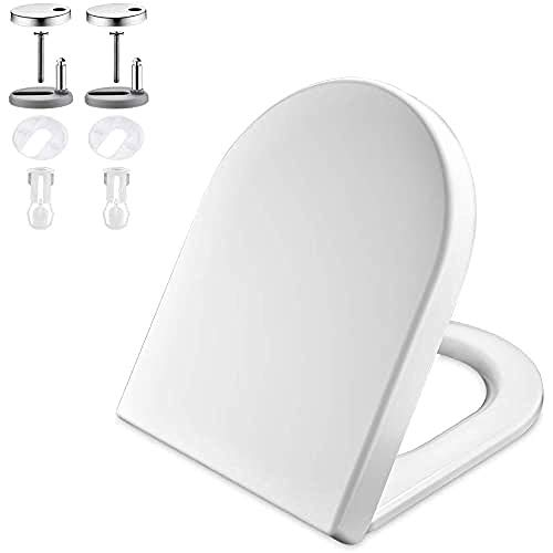GRIFEMA G951 - Tapa WC, Asiento de Inodoro de Cierre Suave en Forma de D con Liberación Rápida para una Fácil Limpieza, Blanco [Exclusivo en Amazon]