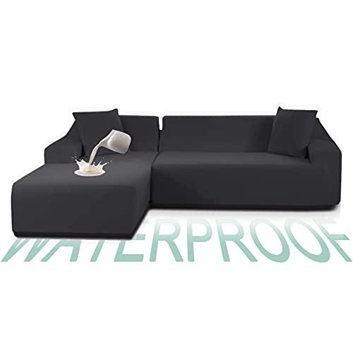TOPOWN Funda Sofa Chaise Longue Impermeable 3 plazas, Funda Chaise Long Elastica Brazo Derecho/Izquierdo, Lavable en Lavadora, Gris