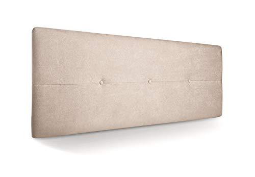 SuenosZzz-Cabecero Jazmin Tapizado Tela Rio Beige Antimanchas 145 x 50 x 4cm. Con capitone