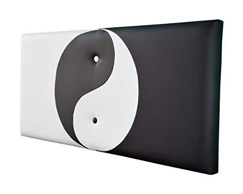 ONEK-DECCO Cabecero de Cama Mod.Ying Yang tapizado en Polipiel,Acolchado de Espuma Varias Medidas y Colores,Cabezal niños, Juvenil y Cama Matrimonio (90x70, Blanco-Negro)