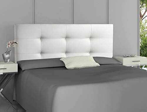ONEK-DECCO Cabecero tapizado en Polipiel de Dormitorio Tennessee Medidas cabecero de Cama niño, Juvenil y Matrimonio Cabezal Blanco, tapizado, Acolchado (150x70, Blanco)