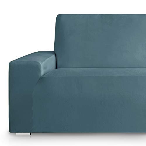 Vipalia Fundas Sofa elasticas. Fundas para Sofas de Terciopelo. Cubre Sofa Elastico. Protector Antimanchas. Suavidad Confort. Azul 4 Plazas (225-270cm)