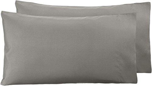 Amazon Basics - Funda de almohada de microfibra, 2 unidades, 50 x 80 cm - Gris topo