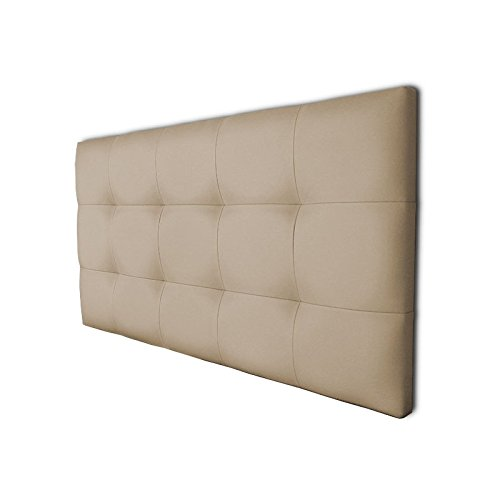 Ventadecolchones - Cabecero de Cama Tapizado Acolchado de Dormitorio en Polipiel con capitoné Modelo Tablet Crudo y Medidas 151 x 70 cm para Camas de 135 ó 150