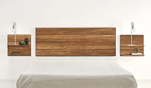 HOGAR24 ES Cabecero + 2 mesitas Acabado Madera Maciza Natural, Medidas 155 x 60 x 2 cm