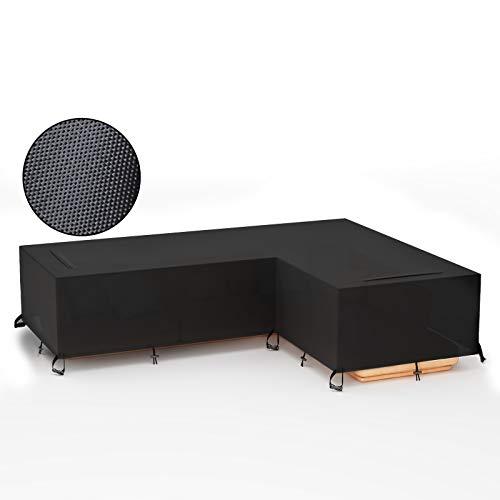 GEMITTO Funda para sofá de Patio, Cubierta seccional para Muebles al Aire Libre, Cubierta Impermeable para sofá de jardín en Forma de L (ala Derecha Corta, ala Larga Izquierda)