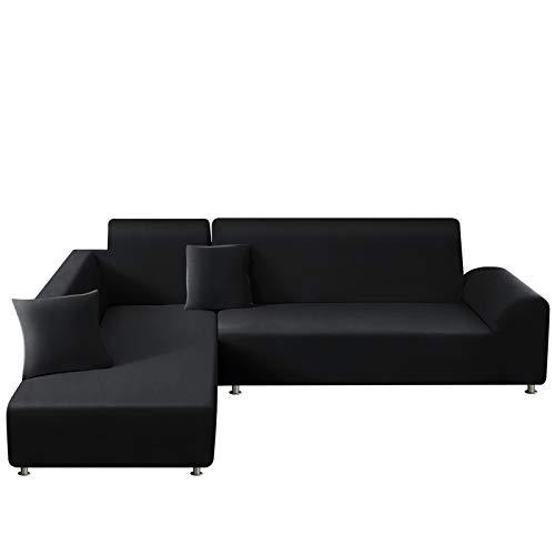 TAOCOCO Funda para sofá en Forma de L Funda elástica elástica 2 Juegos para 3 Asientos + 3 Asientos, con Funda de cojín de 2 Piezas (Negro)